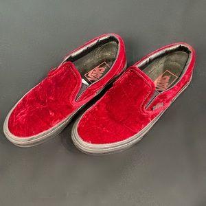 Vans Red Limited Edition Velvet Slip-Ons sz 6.5